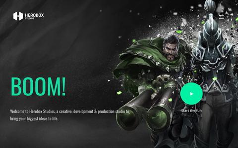 Screenshot of Home Page heroboxstudios.com - Herobox Studios - a creative & production studio for gaming and betting. - captured Aug. 26, 2018