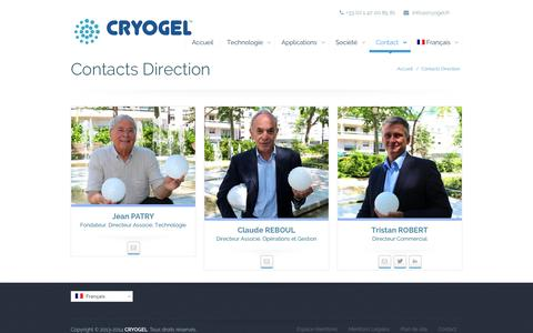 Screenshot of Team Page cryogel.fr - Contacts Direction | CRYOGEL - captured Oct. 1, 2014