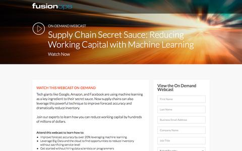 Screenshot of Landing Page fusionops.com - FusionOps' Webcast: Reducing Working Capital with Machine Learning - captured Dec. 25, 2016