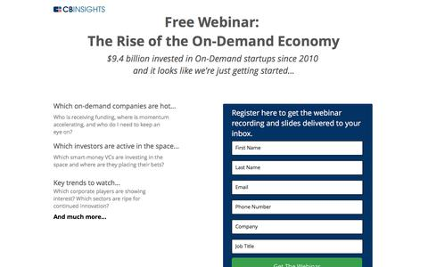 Screenshot of Landing Page cbinsights.com - The Rise of the On-Demand Economy - captured Oct. 12, 2016