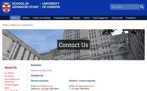 Screenshot of Contact Page sas.ac.uk - Contact Us | School of Advanced Study - captured Feb. 18, 2018