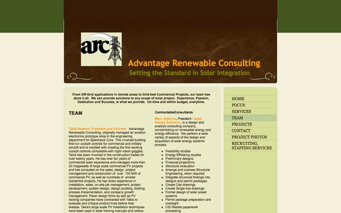 Screenshot of Team Page arcprosolar.com - Advantage Renewable Consulting - From Off-Grid applications in remote areas to Grid-tied Commercial Projects, our team has done it all.  We can provide solutions to any scope of solar project.  Experience, Passion, Dedication and Success, is what we  - captured Oct. 4, 2014