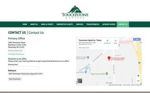 Screenshot of Locations Page touchstonecapital.com - Contact Us - captured Oct. 20, 2018