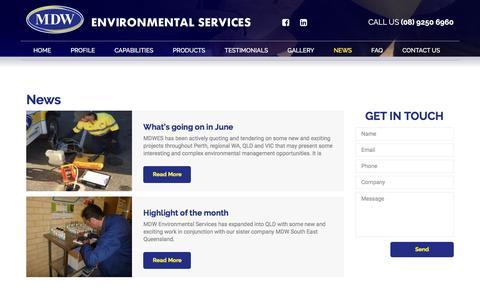 Screenshot of Press Page environmentalservices.com.au - News   MDW Environmental Services - captured Nov. 17, 2016