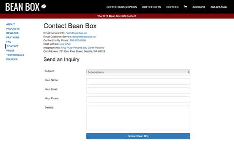 Screenshot of Contact Page beanbox.co - Contact Us — We're highly caffeinated | Bean Box - captured Nov. 27, 2018