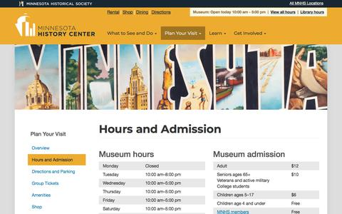 Screenshot of Hours Page mnhs.org - Hours and Admission | Minnesota History Center | MNHS - captured Sept. 22, 2018