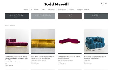 Screenshot of Products Page toddmerrillstudio.com - Custom Originals - captured July 3, 2018