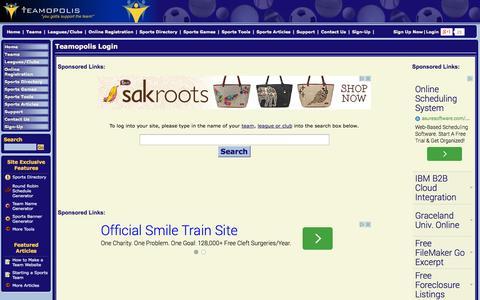 Screenshot of Login Page teamopolis.com - League and team website login - Teamopolis.com - captured Sept. 19, 2014