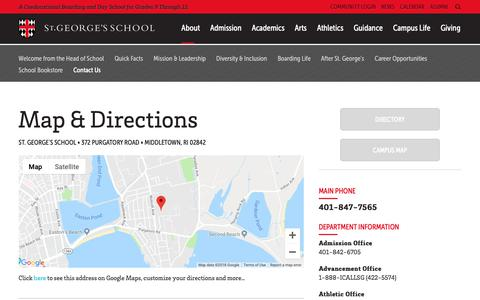 Screenshot of Contact Page Maps & Directions Page stgeorges.edu - St. George's School: Contact Us - captured Oct. 18, 2018