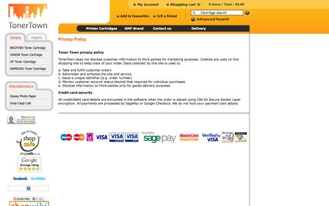 Screenshot of Privacy Page tonertown.co.uk - Printer ink cartridges, toner cartridges - privacy policy - captured Sept. 30, 2014