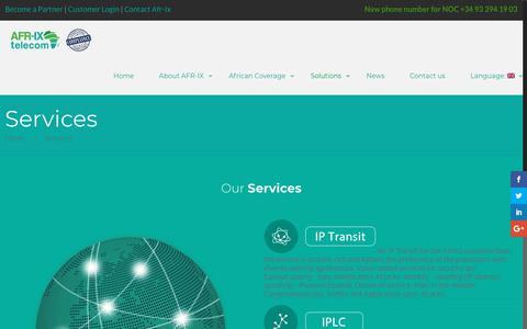 Screenshot of Services Page afr-ix.com - Services • AFR-IX - captured July 28, 2018