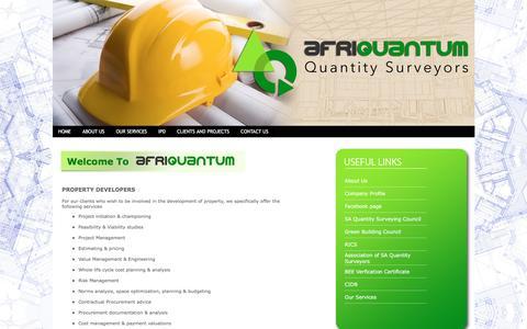 Screenshot of Developers Page afriquantum.co.za - AFRIQUANTUM | Quantity Surveyors - captured Nov. 19, 2016