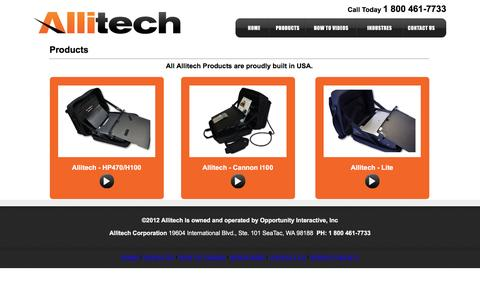 Screenshot of Products Page allitech.com - Products | Carrying Case | Computer Case | Mobile Office | Mobile Printer | Print on the Go | Allitech - captured July 25, 2016