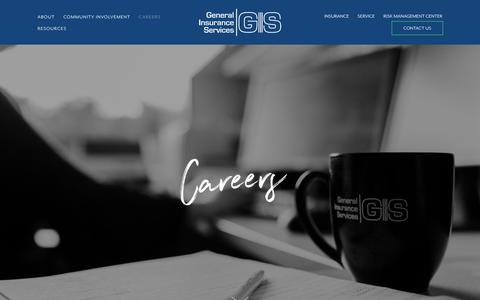 Screenshot of Jobs Page genins.com - Careers — General Insurance Services - captured Sept. 27, 2018