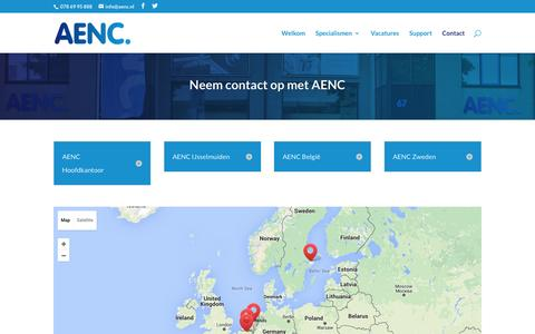 Screenshot of Contact Page aenc.nl - Contact | AENC - captured Feb. 4, 2016