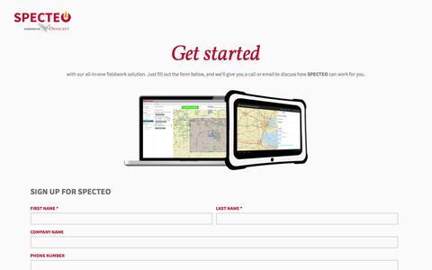 Screenshot of Signup Page ornicept.com - Get Started | SPECTEO - captured Nov. 5, 2014