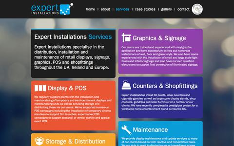 Screenshot of Services Page expertinstallations.co.uk - Retail Display & Point-Of-Sale Merchandising Installation | Expert Installations - captured July 24, 2018