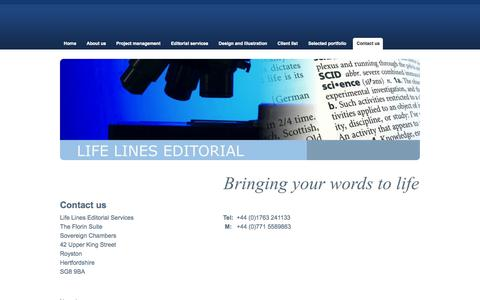 Screenshot of Contact Page life-lines.co.uk - Life Lines Editorial Services Contact page - Life Lines Editorial Services - captured Oct. 2, 2014