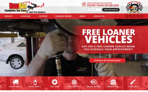 Screenshot of Home Page radair.com - Rad Air | Quality Automotive Repair in Northeast Ohio Since 1975 - captured Oct. 19, 2018