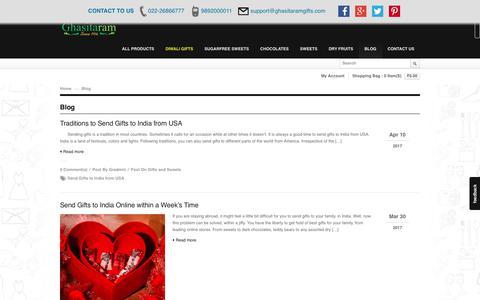 Screenshot of Blog ghasitaramgifts.com - Blog - Ghasitaram Gifts, Best Sweets Shop in Mumbai - captured Oct. 29, 2017