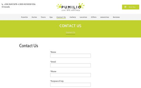 Screenshot of Contact Page hotelpumilio.com - Contact Us - Hotel Pumilio - Jacó - Costa Rica - captured July 22, 2017