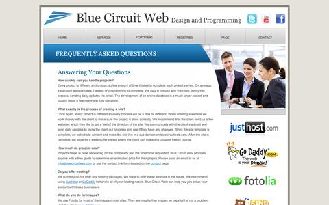 Screenshot of FAQ Page bluecircuitweb.com - Blue Circuit Web | Design and Programming - captured Oct. 5, 2014