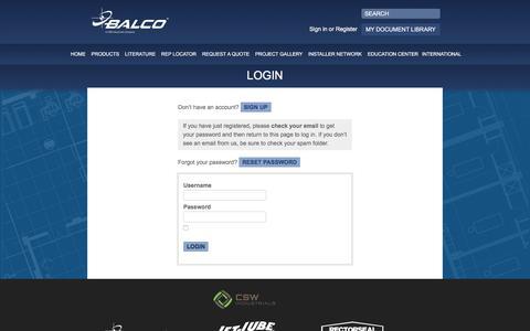Screenshot of Login Page balcousa.com captured Oct. 23, 2017