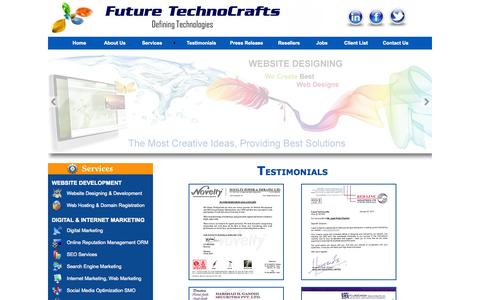 Screenshot of Testimonials Page futuretechnocrafts.com - Portal Development Company in India, Mumbai, Job Portal Development, Marriage Portal Development, Real Estate Portal Development, Community Website development company in India - captured Sept. 24, 2014