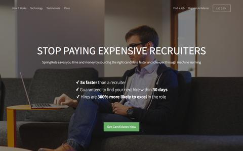 Screenshot of Home Page springrole.com - SpringRole- Marketplace for Recruiting - captured Oct. 7, 2015
