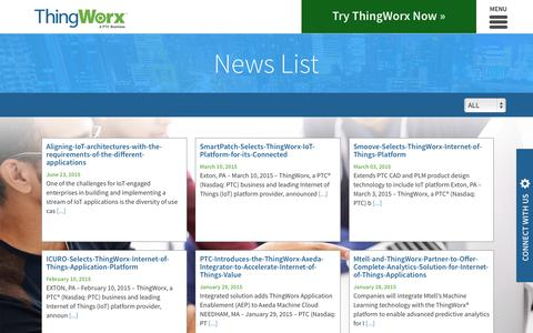 Screenshot of Press Page thingworx.com - News List | ThingWorx - captured Oct. 2, 2015