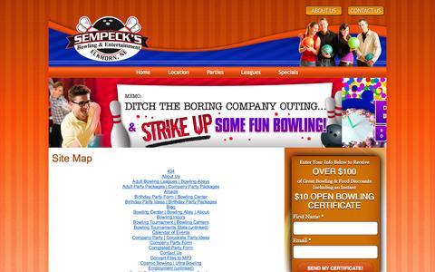 Screenshot of Site Map Page sempecks.com - Site Map | Sempeck's Bowling & Entertainment | Omaha NE - captured Oct. 26, 2014