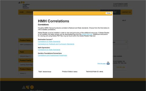 Screenshot of Support Page hmhco.com - Customer Care Online Service Center - Houghton Mifflin Harcourt Company - captured Aug. 4, 2017
