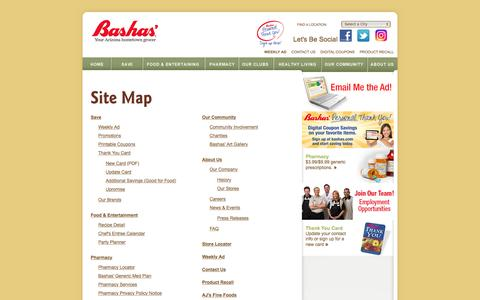 Screenshot of Site Map Page bashas.com - Bashas' Grocery Stores – Site Map - captured Sept. 3, 2016