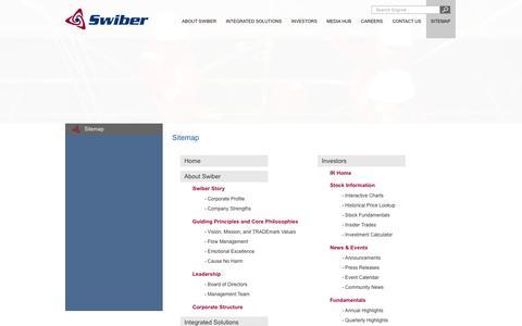 Screenshot of Site Map Page swiber.com - Sitemap :: Swiber Limited - captured Oct. 6, 2014