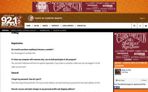 Screenshot of FAQ Page wdlafm.com - WDLA 92.1 Big Kat – Country with Attitude – Oneonta Country Radio - captured Feb. 27, 2018