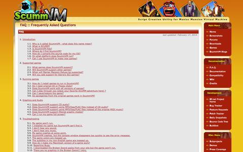 Screenshot of FAQ Page scummvm.org - ScummVM :: F.A.Q. - captured Oct. 27, 2014