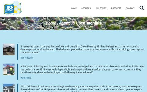 Screenshot of Testimonials Page jbsindustries.com - Testimonials - JBS Industries - captured May 26, 2017