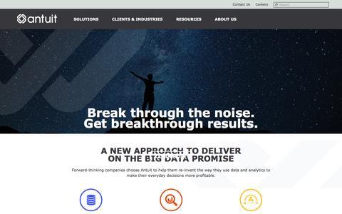 Screenshot of Home Page antuit.com - Big Data Analytics Company   Big Data Companies - Antuit - captured May 30, 2017