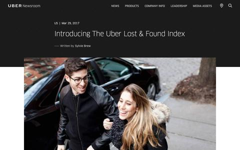 Screenshot of Press Page uber.com - Introducing The Uber Lost & Found Index | Uber Newsroom US - captured May 26, 2018