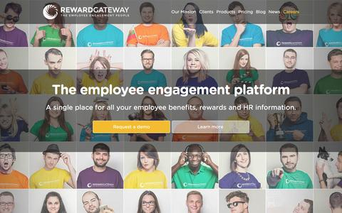 Screenshot of Home Page rewardgateway.com - Reward Gateway « Employee communications, benefits and recognition - captured Feb. 15, 2016