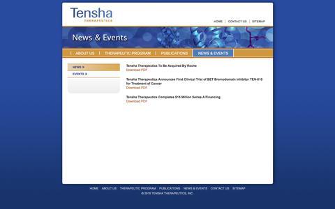Screenshot of Press Page tenshatherapeutics.com - Tensha Therapeutics:  News & Events - captured Feb. 21, 2016
