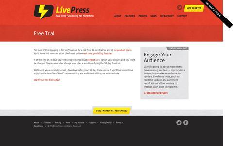 Screenshot of Trial Page livepress.com - Free Trial | LivePress - captured Sept. 30, 2014