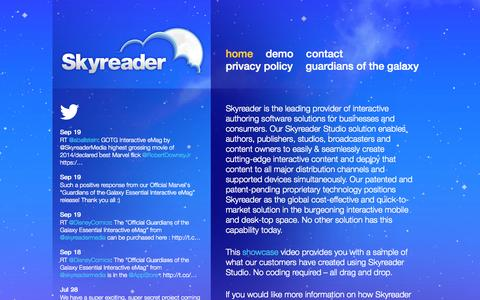 Screenshot of Home Page skyreader.ca - Skyreader Media Inc - captured Oct. 6, 2014