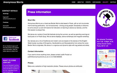 Screenshot of Press Page anonymousmorris.co.uk - Press | Anonymous Morris - captured July 30, 2018