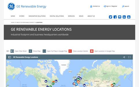 Screenshot of Locations Page ge.com - GE Renewable Energy Locations - captured July 7, 2018
