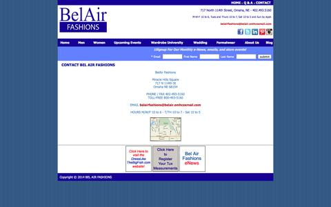 Screenshot of Contact Page belairfashions.com - Belair Fashions - Omaha, NE:: Contact Us - captured Sept. 30, 2014