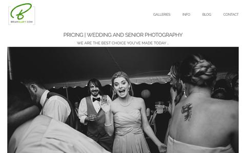 Screenshot of Pricing Page brianclary.com - Pricing | Wedding and Senior Photography » Wedding Photography and Senior Photoshoots - captured Oct. 11, 2017