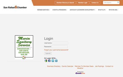 Screenshot of Login Page srchamber.com - Login - San Rafael Chamber of Commerce, CA - captured Oct. 4, 2017