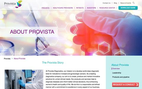 Screenshot of About Page provistadx.com - About Provista | Advanced Women's Cancer Detection - captured Nov. 14, 2016