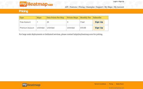Screenshot of Pricing Page myheatmap.com - myHeatmap.com — Create and share heatmaps using geospatial data - captured Oct. 8, 2014